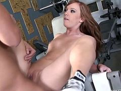 Cute lady with small tits in blue miniskirt swallows a cock before getting her shaved pussy worked on hardcore in the gym