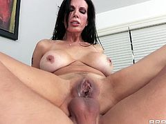 Amazing tattooed brunette cowgirl giving a blowjob then fondles her big tits before getting drilled missionary then doggystyle