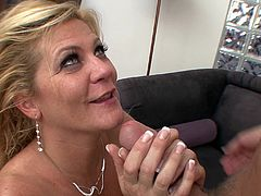 Blonde milf Ginger Lynn licks a dick and gets fucked and facialed