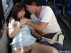There are little people inside the bus so the guy decided to fuck his girlfriend in public. The Japanese chick gets horny with her wet pussy being licked and fucked hardcore.
