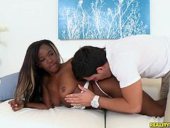 The company of an available teen can be more than enough for a great evening. As lights are turned on and the camera opened, it´s high time the ebony slutty Harmony showed her big round ass with lascivious movements. She´s sensual and wears a tattoo with lips on her left buttock. See her sucking a white dick!
