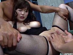 Yua Kuramochi in stockings had a great time enjoying a banging session with some muscled men. She liked it hardcore and fucked doggystyle in her wet pussy.