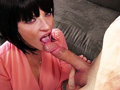 A seductive brunette milf is getting down on her knees and start to suck a lucky man. But his luck is increasing even more when a redhead is joining the blowjob party. One is taking his dick in her mouth, the other is licks his balls. He want to try them both so he put them on the coach and fuck them from behind. You think he needs some help?