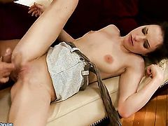 Brunette Ann Marie La Sante gets her mouth stretched by thick rock hard fuck stick of horny dude