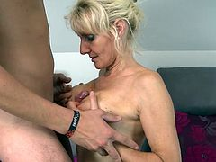 At her age she knows what a man needs. Sitting on the couch she start to suck his big dick. She knows all tricks. Now she put that cock between her natural breasts while she suck him. He wants to turn the favor with a nice pussy licking while he is fingering her. That's a good idea for fast orgasm. Maybe she can squirt!