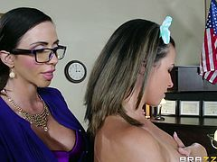 Why not get really dirty at work? The office outfit of the brunette milf wearing glasses puts in evidence her big breasts. All the adventure is caught on tape offering an explicit succession of kinky activities implying another busty lady with nice ass. Click to see her down on knees sucking a guy´s dick!