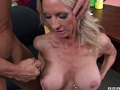 White Cougar With Fake Tits Sucks Heavy Cock Smoothly