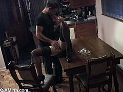 Take a look at this hardcore amateur video where the sexy Mina Gorey is fucked silly by her man on top of the dining table.