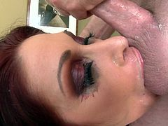 This cougar wanted a monster dick to suck for a blowjob. Tiffany Mynx on lingerie takes the cock hardcore and swallows the cumshot in her mouth.
