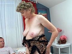 Ugly old whore in nude stockings gets fucked from behind by young dawg