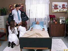 This two hot nurses are arguing about this old guy's money. Kourtney is trying to persuade him to leave her his fortune. In order to make him accept, she teases him showing her hot boobs, and sexy ass. His lawyer comes by and promises he will help them, so they both get naked and give him a special gift. Will they suck the cum out of his balls?
