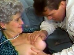 Lusty grannie in black stockings gets her muff finger fucked by young nextdoor guy