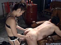 Check out this hot femdom scene where the horny Japanese babe Ayu Sakurai fucks her man with a strapon.