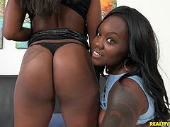 If you're a declared fan of big and round asses, check out these lovely butts we have here! A naughty teen and her ebony friend get wild in the presence of a white big cock. They are showing off their tits and asses and playfully share this same cock. Click to watch them sucking and licking!