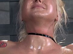 If you are into bondage and rough sex, you should take a look and enjoy the next kinky scenario. A blonde babe has been strongly tied up and bonded, too. There's no way out, so she obeys and takes a big cock in her mouth. The deep throat blowjob makes her gaggle. Click to see the bitch's face covered in cum!