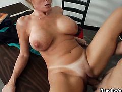 Darla Crane with gigantic jugs and trimmed pussy finds herself getting used by David Loso