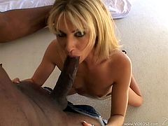 Blond with small tits suck on a huge black cock in interracial scenes then does anal hardcore before taking facial cumshot