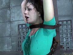 Brunette baby Sarah is a beauty! She has that pretty face any man will love to cum on it and, this time, they do! Sarah has been tied hard on that wooden post and the executors are taking turns with her mouth At first she's disgusted and horrified but as cum flows from her mouth, she learns to like it!