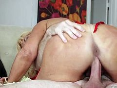 Horny blond haired granny in sexy corset rides hard cock of her old friend