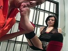 Bitchy brunette chick rubs her armpit with big cock of her stud