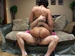 Hot blooded brunette tramp in pink stockings gets fucked by her brutal man hard