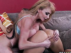 With juicy jugs gets her mouth attacked by Rocco Reeds meaty erect schlong after anal fun