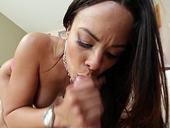 Exotic dame with natural tits in panties unpins while showcasing her hot ass before giving her horny guy a nice handjob