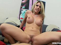 Have fun jerking off to this hardcore video where the beautiful blonde Courtney Cummz sucks on a guy's big cock before riding it like a true whore.