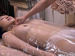 Nude Japanese dame with natural tits enjoys her sex hole being licked by a horny guy before getting drilled hardcore missionary