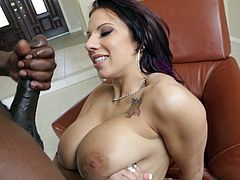 Horny cowgirl with big tits undresses her attire before getting juicy sex hole drilled hardcore with a big black cock in a cozy room