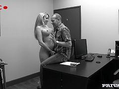 Get a load of this hardcore scene where the horny blonde babe Courtney Cummz shows off her great body before sucking and fucking a big cock.