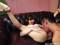 Marvelous Japanese lady with natural tits in high heels sucks a massive cock before enjoying being drilled doggystyle indoors