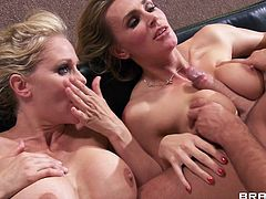 Gorgeous cougars in FFM threesome removes their tops revealing their sexy bras then gives a blowjob as she gets fingered then he drills them hardcore