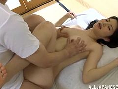 Exotic Asian doll in bra enjoys her juicy pussy being licked before getting penetrated Hardcore from all direction in a cozy room