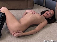 Share this with your friends! A brunette babe, with a nice butt wearing a bikini, masturbates fervently in a solo model video until she cums.
