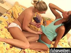 Seductive lesbian teen nymphets Gaby and Megan licking their petite shaved cunts hard. They just can't get enough of each other and want to cum together for the first time.