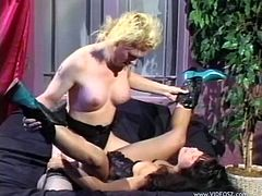 Marvelous lesbian with natural tits in high heel enjoying her juicy pussy being licked before getting nailed with a strap on