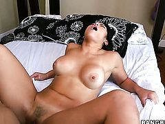 Charming exotic hottie Mia Li gets her twat pumped full of cock in sex action with horny dude