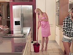 He was invited by his girlfriend at her place to meet her mother. He didn't knew that her mother looks so hot. Now he don't know what to do. This hot milf starts to suck his dick in the kitchen and when her daughter came she asked her to go down on her knees and learn how to suck. Lucky dick, receiving blowjob from two hot sluts.