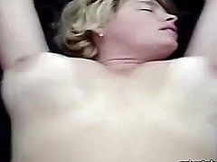 Mature blonde MILF with big bouncy tits calls herself an internet slut