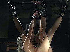 Naughty blonde slave girl tied up in ropes is hardly whipped and slapped then put to deepthroat suck cock.Masters hardcore fingers her nasty pussy until she screams of pain and pleasure!She sucks his dick and cums in her mouth!