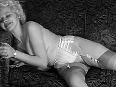 Vintage solo sex video featuring tempting blonde lady