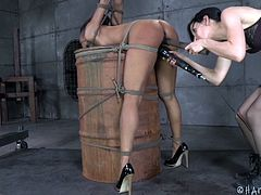 Are you into kinky activities involving powerful rope bondage? An ebony beauty with small tits is wearing high heels and a ball gag. A brunette merciless mistress is using a vibrator and from time to time slaps the bitch's brown firm ass. Click to see the helpless slut experiencing brutal pain!