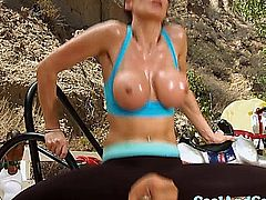 Big titted MILF mature loving anal sex outdoors rough and hard
