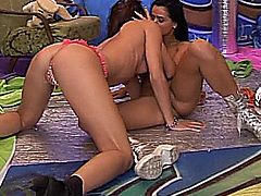 Ultra sexy lesbian teen sirens Kim and Janet lick and toy pussies