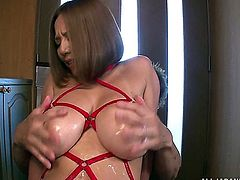ruri sajo being tied bondaged and fondled. guy penetrates pussy with toys