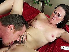 hairy mature is masturbating, but waits for the real thing and gets it.