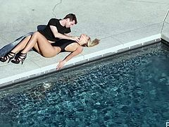 Jame's Deen has her laid down by the swimming are and he is kissing her is such an erotic fashion. The couple moves indoors and they make love on a mattress. He makes her wet by kissing her and rubbing her clit. She is so close to orgasm as he give her cunnilingus.