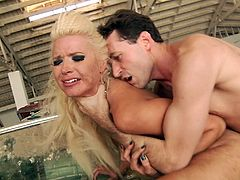 Get a load of this brutal hardcore scene where the smoking hot Anikka Albrite shows off her great body before being fucked silly by two guys in a threesome.