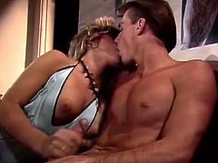 Classic Porn Scenes brings you a hell of a free porn video where you can see how these vintage blonde and brunette sluts share a hard cock into a massive orgasm.